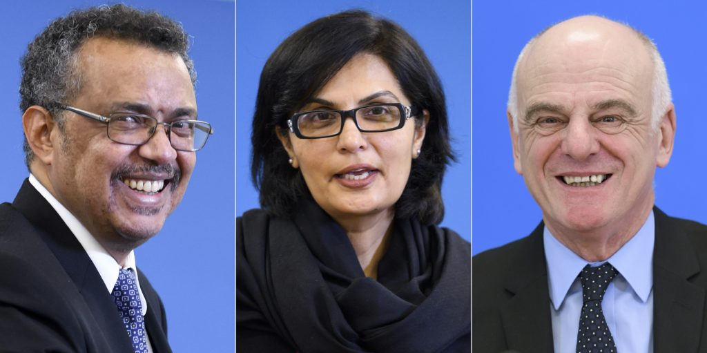 Photo - Ethiopian Tedros Adhanom, Pakistani Sania Nishtar, and British David Nabarro (from left). [Credit: Fabrice Coffrini, AFP, Getty Images]