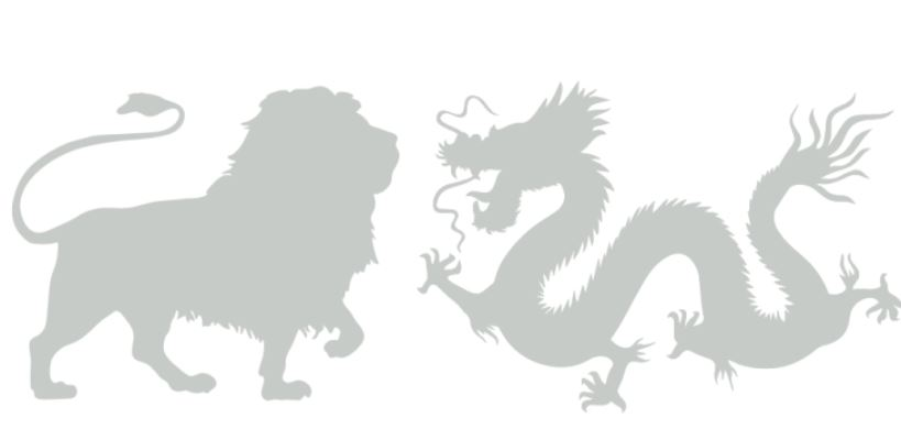 Image - A lion and dragon facing each other