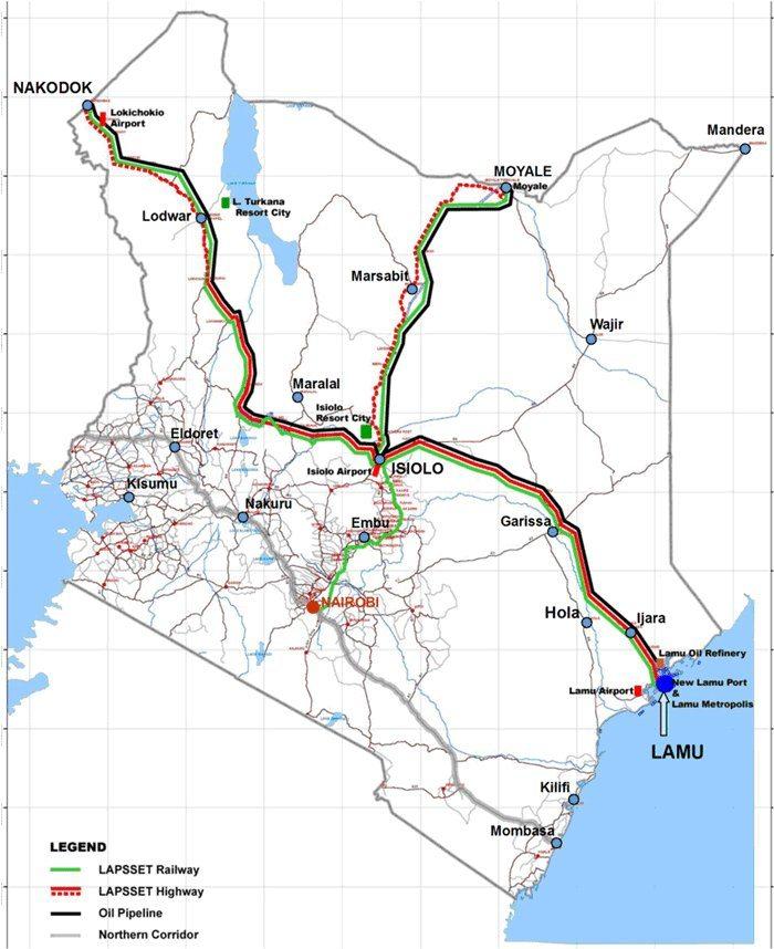 Map - Isiolo, Marsabet, Moyale road, in LAPSSET corridor, Kenya