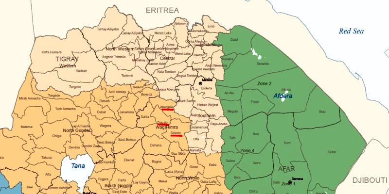 Map - Sekota, Ziquala and Abergelle of Wag Himra Zone, Amhara region, Ethiopia
