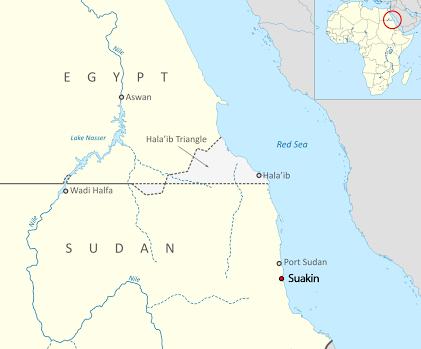 Map - Suakin island of Sudan, and Halaib triangle on Egypt-Sudan border