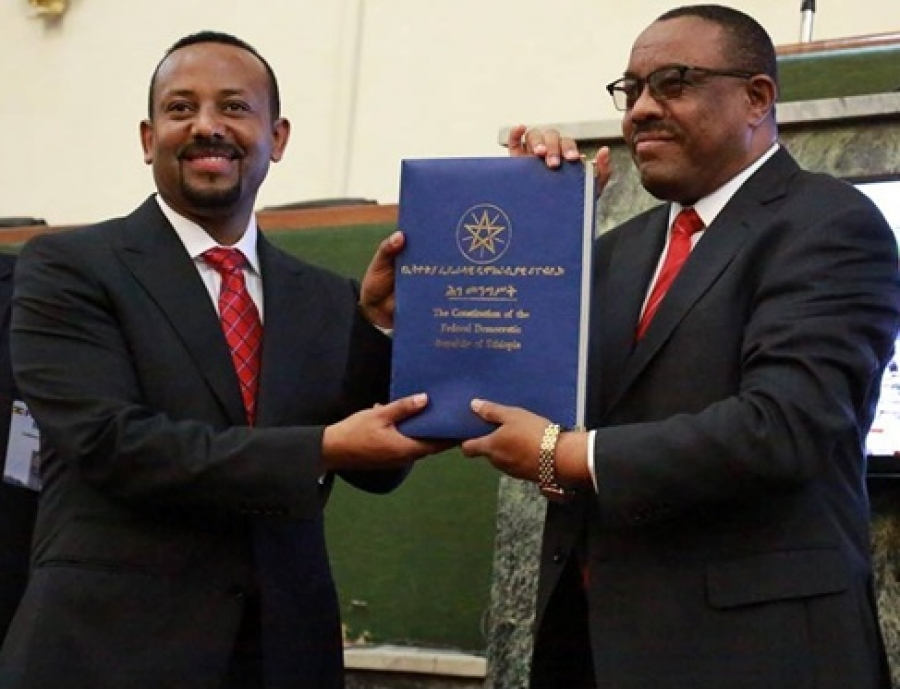 Photo - New PM Abiy Ahmed and outgoing PM Hailemariam Desalegn