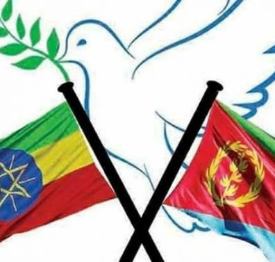 Image - Ethiopian and Eritrean flags with a dove